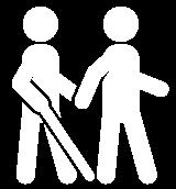 Un cieco con bastone accompagnato da un'altra persona